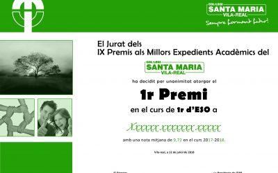 PREMIS ALS MILLORS EXPEDIENTS DELS CURS PASSAT